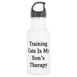 Training Cats Is My Son's Therapy 18oz Water Bottle