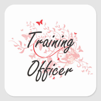Training Officer Artistic Job Design with Butterfl Square Sticker