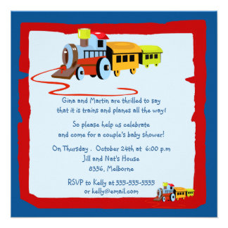 Trains and Planes Baby Shower Invitations