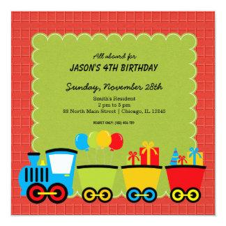 Trains Birthday theme 5.25x5.25 Square Paper Invitation Card