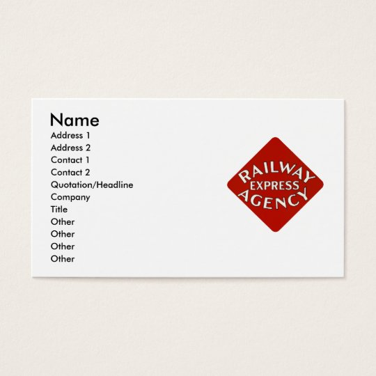 Trains Can Send Your Bags ahead by Railway Express Business Card