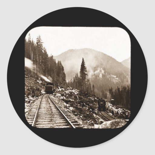 Trains Coming and Going Magic Lantern Vintage Classic Round Sticker