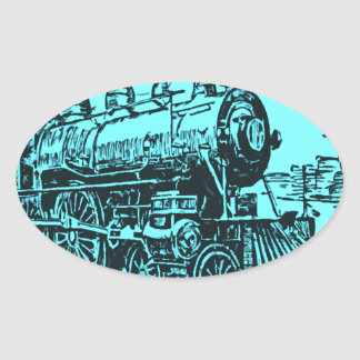 trains oval sticker
