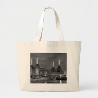 Trains pass Battersea Power Station, London Canvas Bag