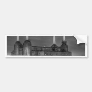 Trains pass Battersea Power Station, London Bumper Sticker