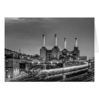 Trains pass Battersea Power Station, London Card