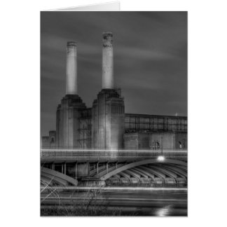 Trains pass Battersea Power Station, London Greeting Card