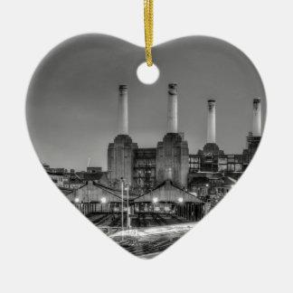 Trains pass Battersea Power Station, London Ceramic Ornament
