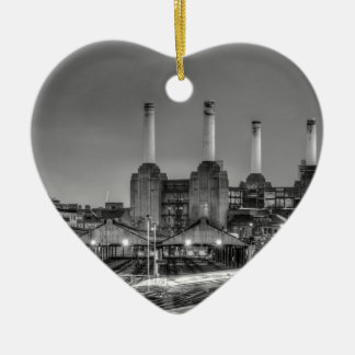 Trains pass Battersea Power Station, London Double-Sided Heart Ceramic Christmas Ornament