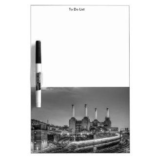 Trains pass Battersea Power Station, London Dry-Erase Board