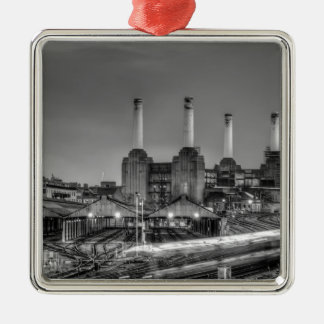 Trains pass Battersea Power Station, London Metal Ornament