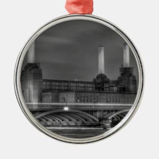 Trains pass Battersea Power Station, London Metal Ornament