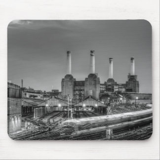 Trains pass Battersea Power Station, London Mouse Pad