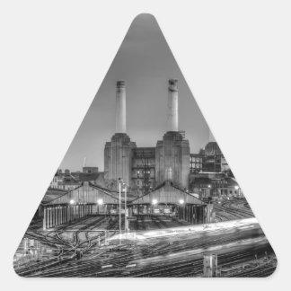 Trains pass Battersea Power Station, London Triangle Sticker