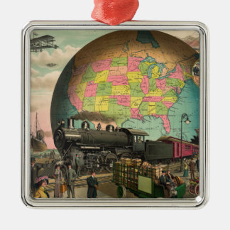 Trains, Planes & Everything Else Square Metal Christmas Ornament