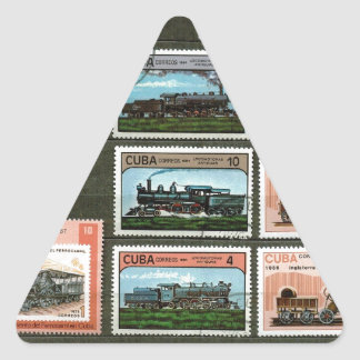 Trains, railways, locomotives 1 triangle sticker