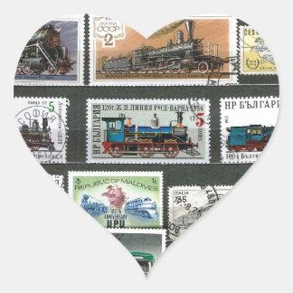 Trains railways locomotives 4 heart sticker