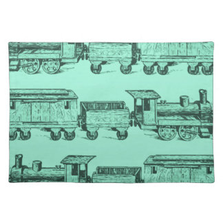 Trains Trains and still Trains Cloth Place Mat