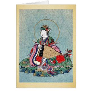 Traje ceremonial que lleva con un Phoenix-adorno Tarjeta