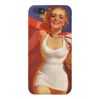 traje de baño retro elegante galón de la playa del iPhone 5 carcasa