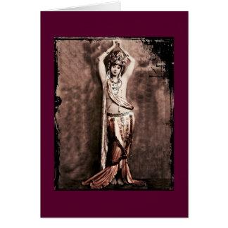 Traje de la bailarina de la danza del vientre de tarjeta de felicitación