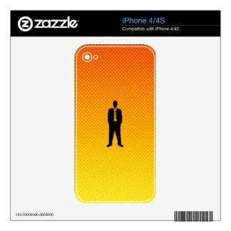 Traje de negocios amarillo-naranja skins para iPhone 4S