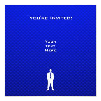 Traje de negocios azul invitación 13,3 cm x 13,3cm