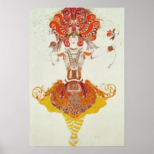 """Traje del ballet para """"el Firebird"""", por Stravinsk Póster"""
