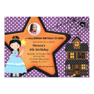 """Traje del cumpleaños de Halloween (púrpura) Invitación 5"""" X 7"""""""