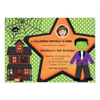 Traje del cumpleaños de Halloween (verde) Invitación 12,7 X 17,8 Cm