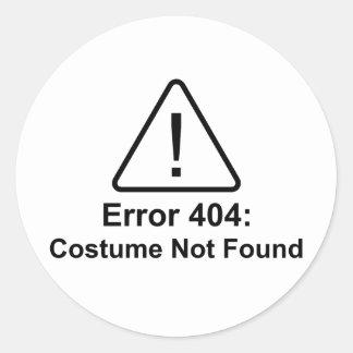 Traje del error 404 Halloween no encontrado Etiquetas Redondas