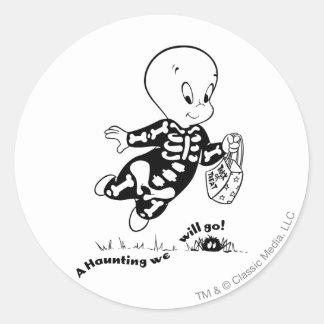 Traje del esqueleto de Casper Pegatina Redonda