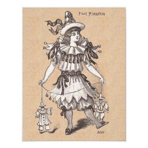 Traje del fiesta de las modas del vintage del invitación 10,8 x 13,9 cm