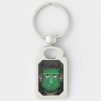 Traje divertido de Frankenstein Halloween Llavero Plateado Rectangular