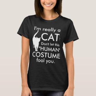 Traje divertido del gato, mujeres de Halloween Playera