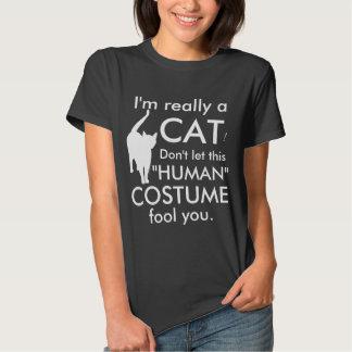 Traje divertido del gato, mujeres de Halloween Poleras