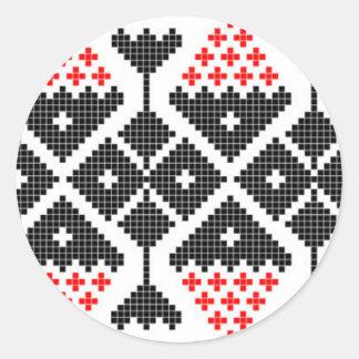 traje geométrico del adorno de la danza étnica pegatina redonda