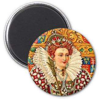 Traje isabelino 1800sArt de la reina de Inglaterra Imán Redondo 5 Cm