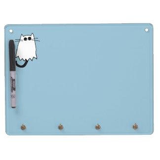 Traje lindo del fantasma del gato de Halloween Tablero Blanco