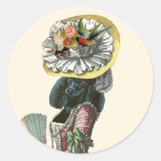 Traje negro del siglo XVIII del caniche de Marie Etiqueta Redonda