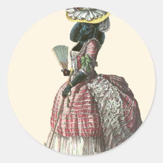 Traje negro del siglo XVIII del caniche de Marie Pegatina Redonda