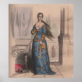 Traje noble de la mujer de la moda medieval del fr póster