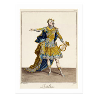 """Traje para Apolo en la ópera """"Phaethon"""", engrav Postal"""