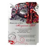 Traje rojo Halloween de la bola de la máscara de Invitacion Personalizada