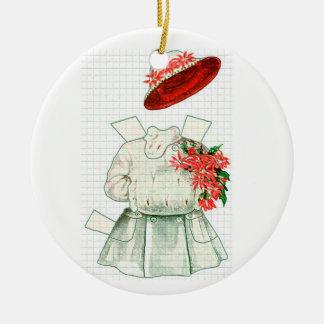 Traje rojo y blanco de la muñeca de papel ornato
