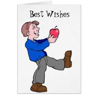 Traje una manzana tarjeta de felicitación