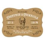Traje y cóctel de Halloween del cráneo del vintage Invitacion Personal