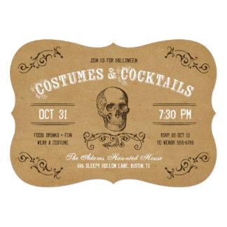 Traje y cóctel de Halloween del cráneo del vintage