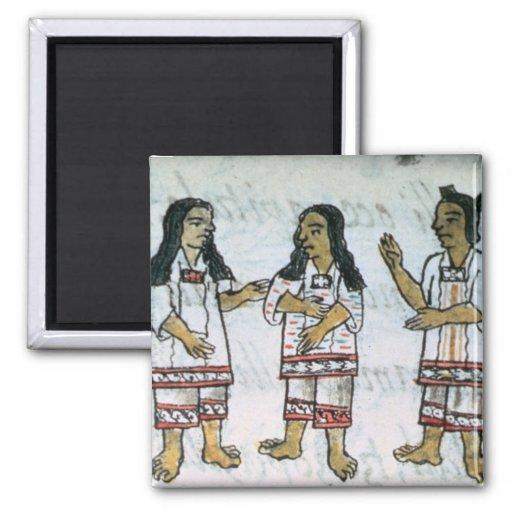 Trajes aztecas femeninos imán cuadrado