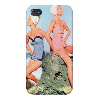 ¡Trajes de baño de las mujeres del vintage y casqu iPhone 4 Carcasas